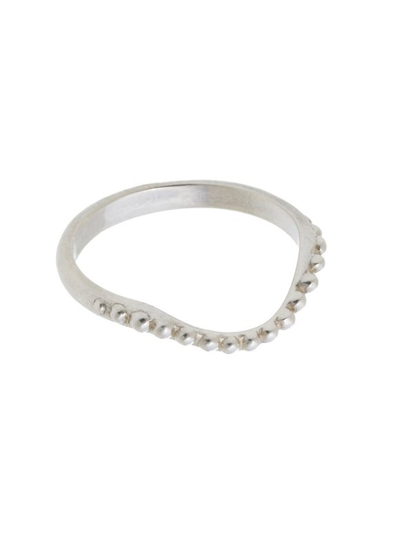 """Tiny """"Pearl Necklace"""" Ring, Sterling Silver, 2010"""