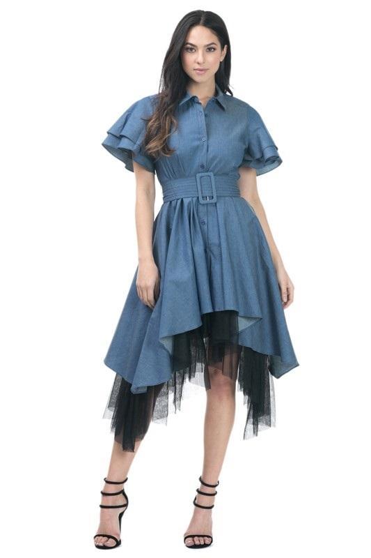81394d8e48 Hi-Low Ruffle Sleeve Denim Dress — Chickie   Co.