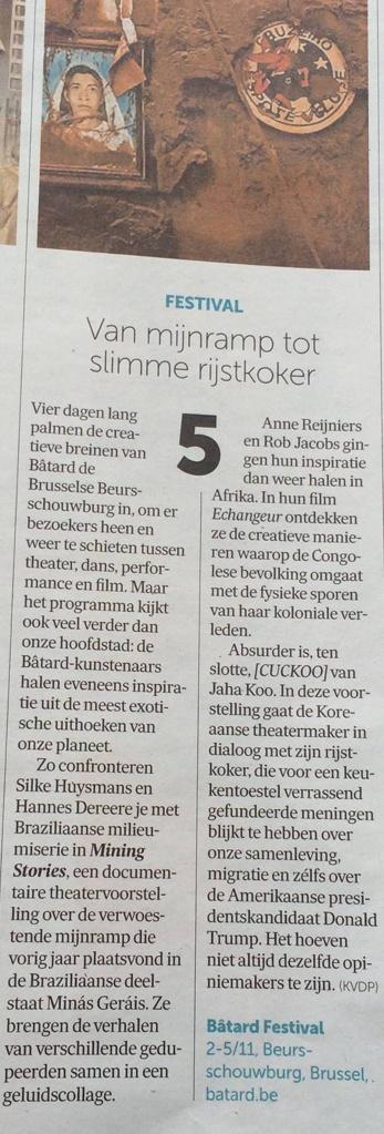 Article published in De Morgen (Dutch, November 2016)