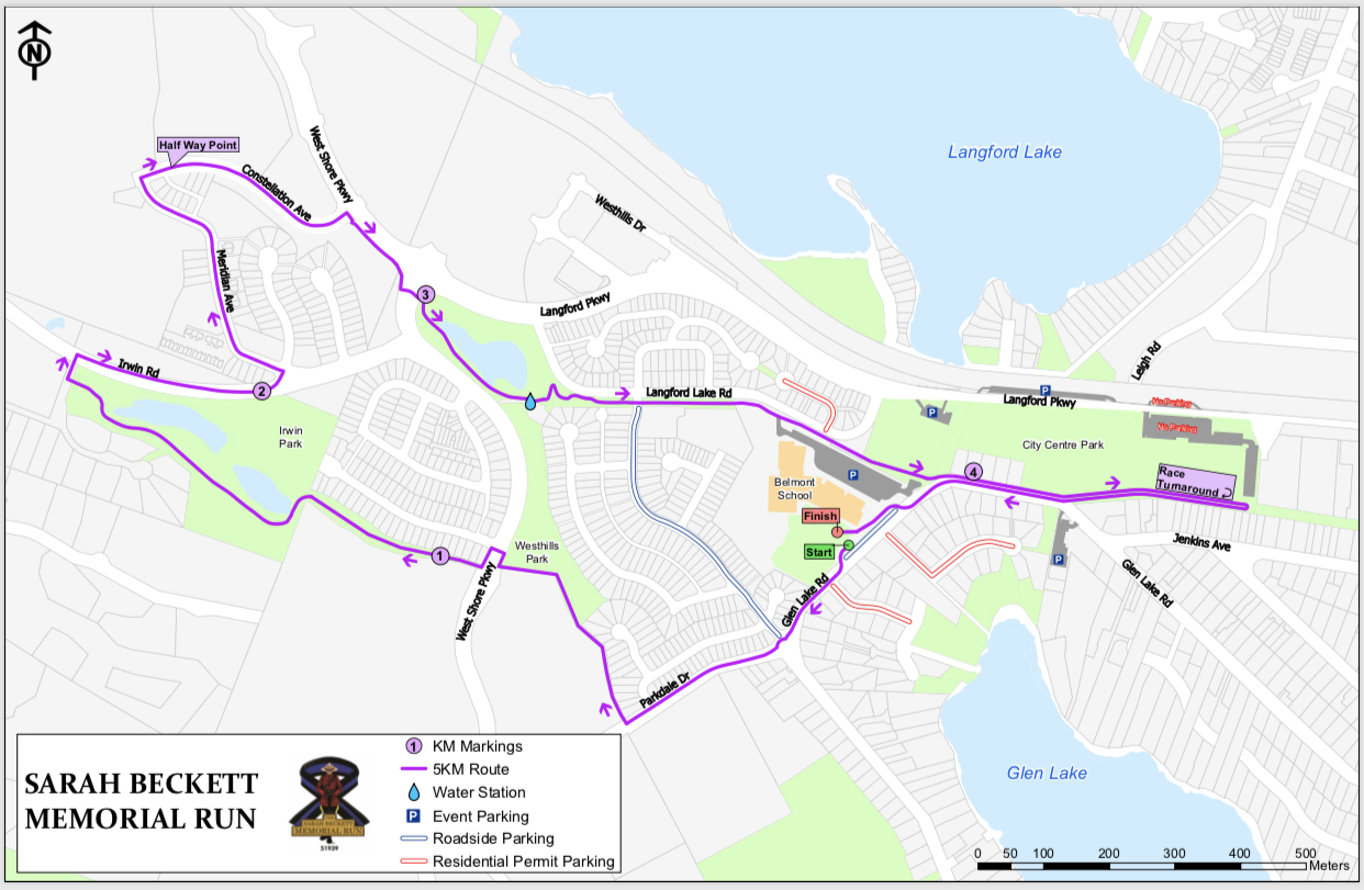 This is the route for the inaugural Sarah Beckett Memorial Run in Langford on Saturday (MAP)