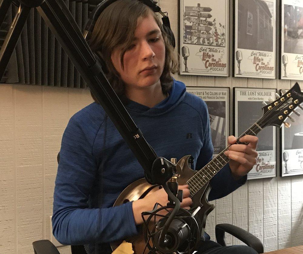 Liam in the Podcast Studio