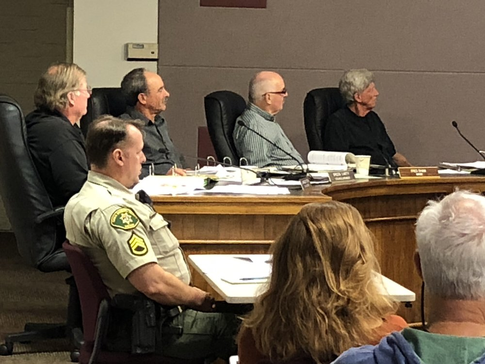 City of Carpinteria city council listening to staff report on cannabis ordinance on Nov. 26, 2018.