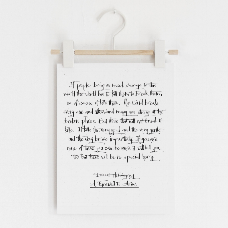 Hemingway calligraphy on hanger.jpg