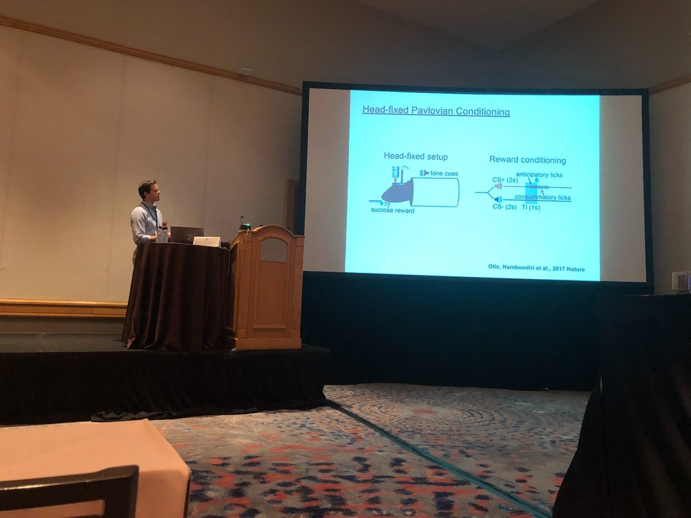 December 13th, 2018 : Jim was at #ACNP2018 in Hollywood, Florida. He presented his work from Dr. Garret Stuber's lab on a panel with Drs. Rita Fuchs, Jakie McGinty, and Fabricio Do-Monte.
