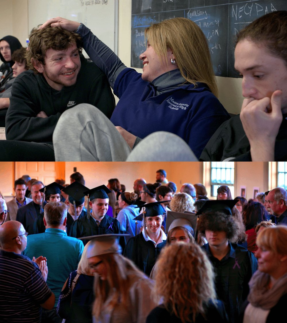 ABOUT THE FILM - RECOVERY HIGH takes a vérité approach, getting to know the students by blending seamlessly into their daily routines. Director Steve Liss has filmed continuously for an entire academic year, from the first day of school through graduation.We have not only captured the classes and activities typical of any high school, but also filmed therapy sessions, gut-wrenching crisis interventions and trips to the emergency room.Due to this intimate access, we confront the raw anger, denial, guilt, and isolation that many of these young people experience.But our journey also takes us through a deep sense of belonging. For many students Northshore Recovery High School is a surrogate family; a last, best hope for kids who no one else – not parents, not friends, not teachers or counselors – has been able to reach.