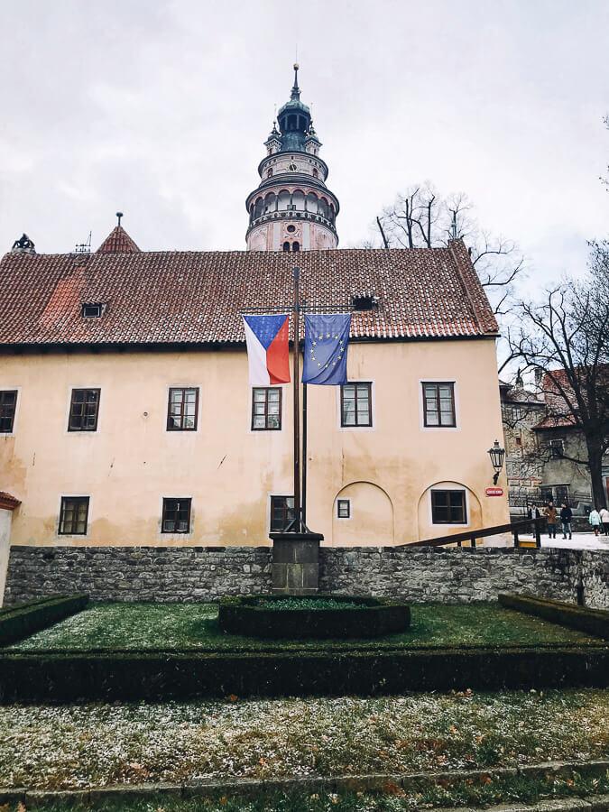 The Reluctant Photographer - Český Krumlov Czech and EU Flags.jpg