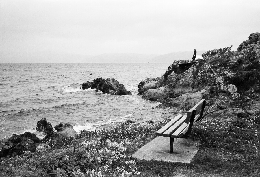 Ilford HP5 Plus - Around the Bays - Bench with a view of the sea boy playing in the background.jpg