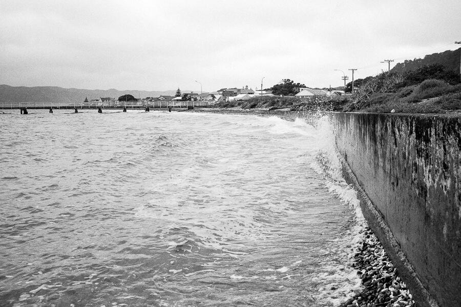 Ilford HP5 Plus - Around the Bays - Waves Hitting the Sea Wall.jpg