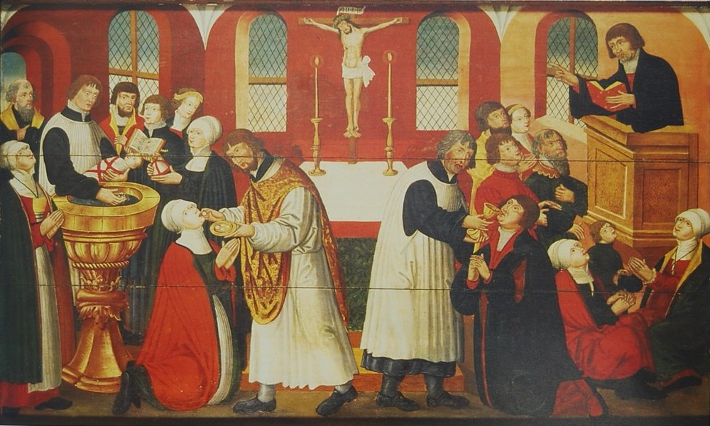 This is an image of some of the first Lutherans in the Divine Service. Notice the baptismal font, altar, and pulpit—and notice the pastors serving God's holy people with His rich gifts.