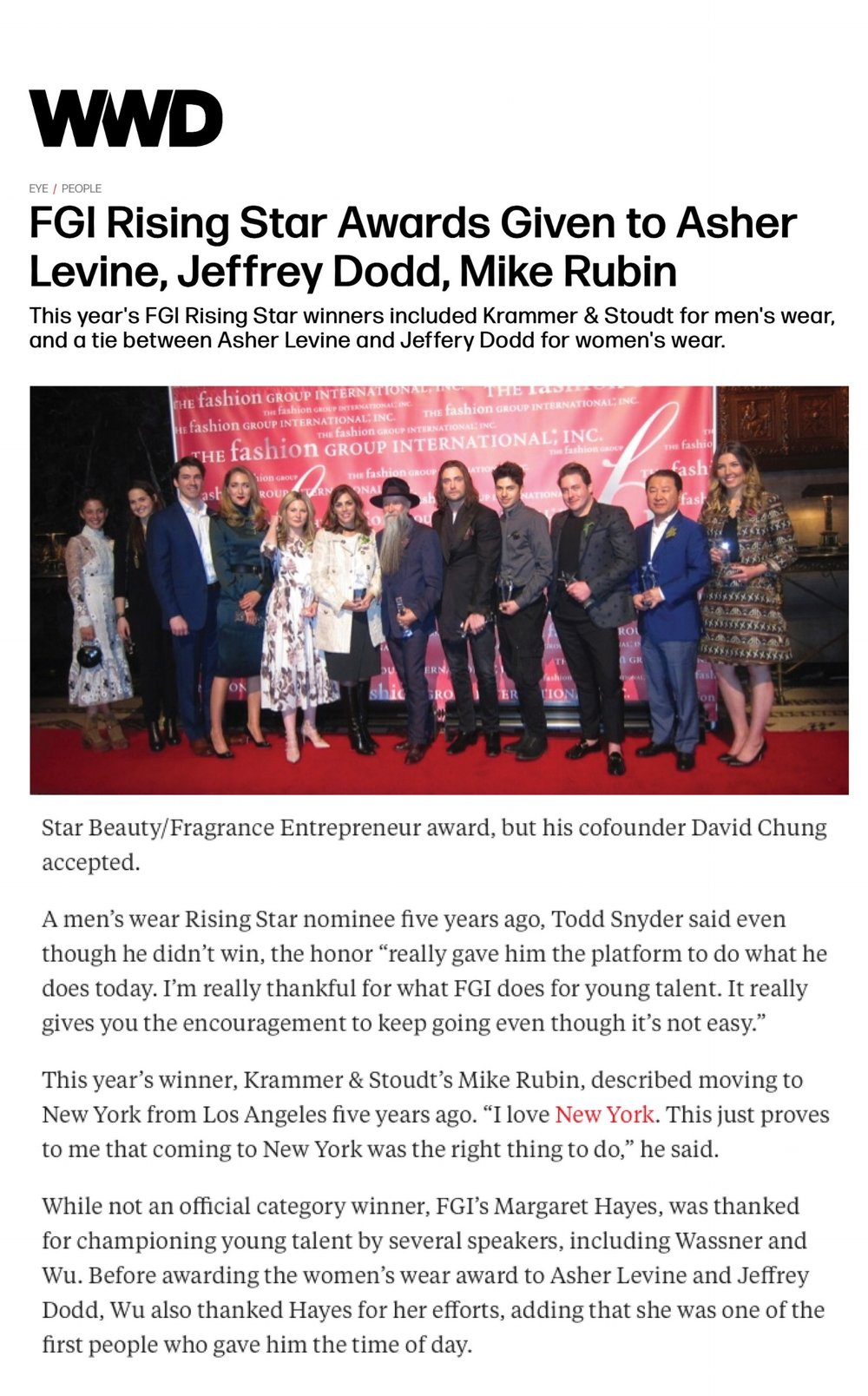 WWD | FGI RISING STAR AWARD