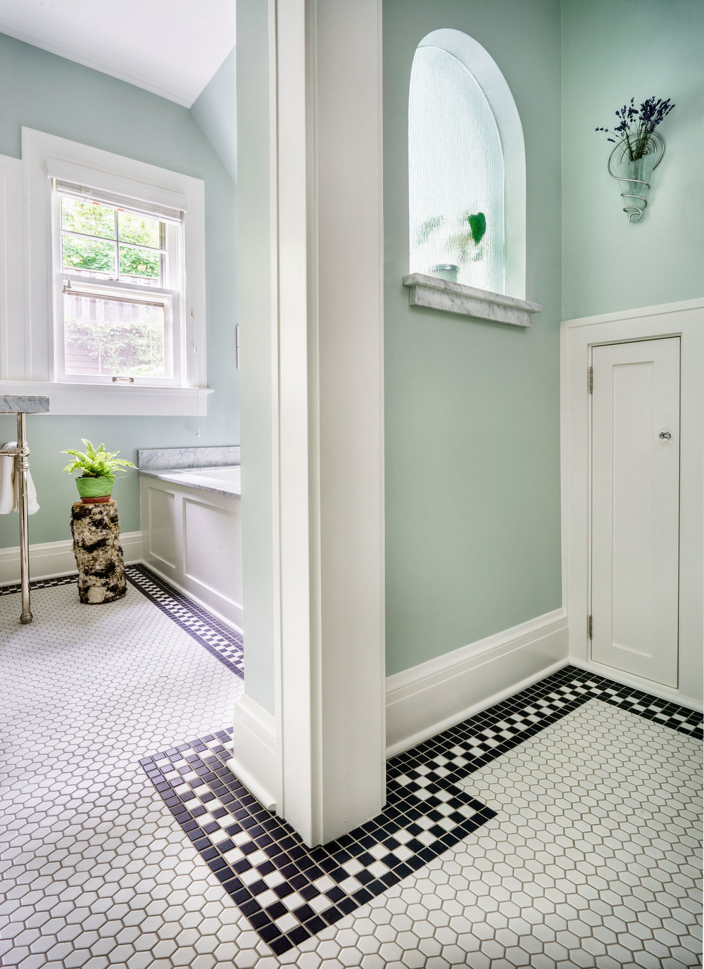 Vintage tile flooring and trim.
