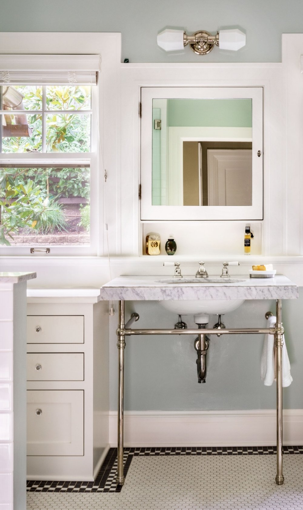 Custom sinks with more counter and pipe fittings.