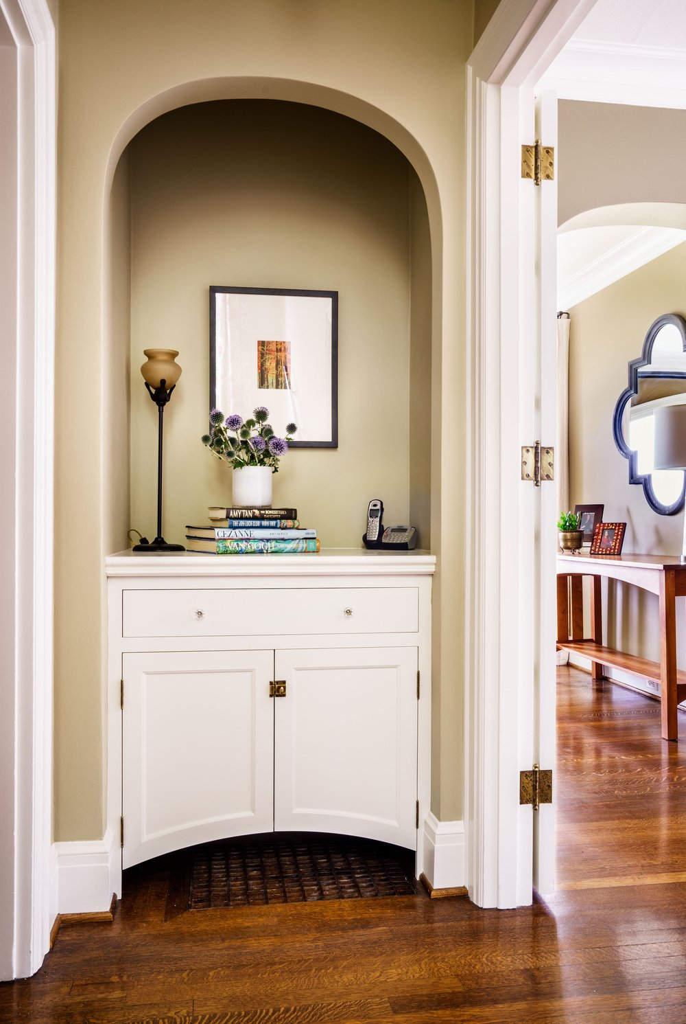 New nook built-in with arched bottom.