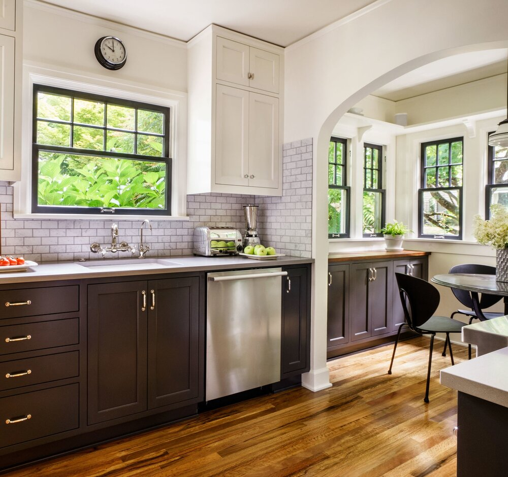 Same color cabinets and walls give seamless look.