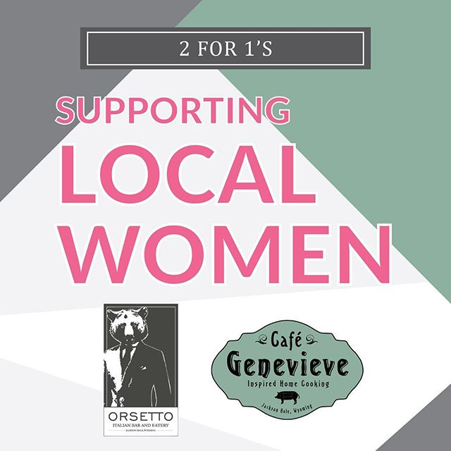 Two for ones are officially here! This October, Orsetto and Cafe Genevieve are supporting local women by donating to the Women's Health Care Fund. 💖 I have already had dinner at both 😳 and the food was 👍 #offseason . . @orsettojh @cafegenevieve . #twoforone #jackson #wyoming #graphicdesign #womenshealth #smallbusiness #eatlocal #designer #jacksonhole #dinner #datenight #orsetto #genevieve #eat