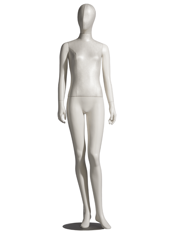 """MODERN CLASSIC MANNEQUINS MCMF-F0900  - Upholstered Measurements: Height 72"""" (Seated 51"""")  • Bust 31 ¾""""  • Waist 25 ½""""  • Hip 35 ¼""""  • Footprint 8 ½""""  • Heel 2"""" - 4"""""""