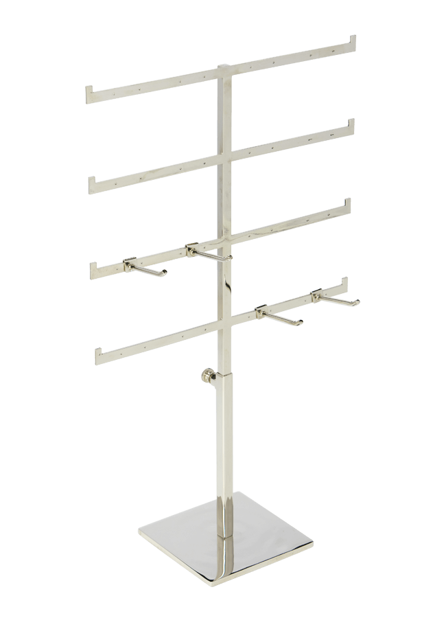 """EARRING STAND   Item# S0809011  Top 10"""" w  Base 5"""" x 5""""  Adjust 7"""" to 12""""     Peg   Item# FC-63247 (single) Item# FC-64277 (double)"""