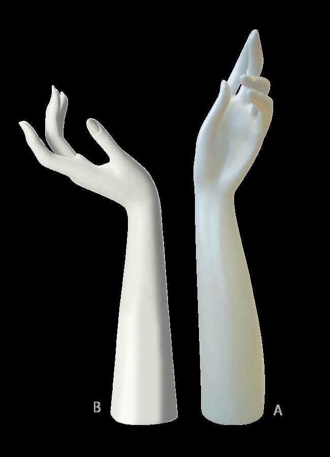 "FEMALE HAND A & B    A. Hand Stand - Female A   Item# AD-H1304A  Size 18 ½"" H   B. Hand Stand - Female B   Item# AD-H1304B  Size 15 ½"" H"