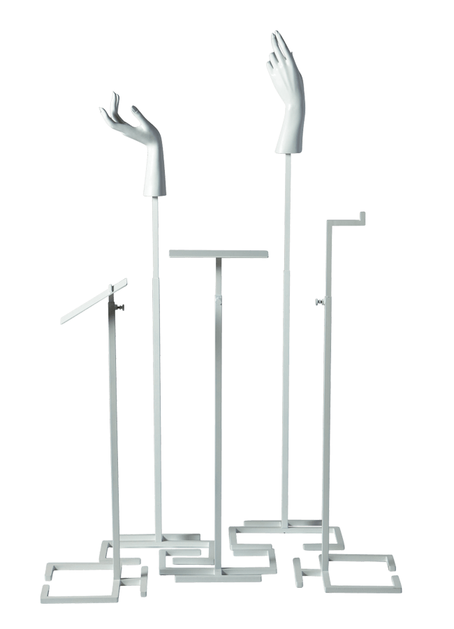 """GREEK-KEY ACCESSORY STAND    JEWELRY -ACCESSORY STANDS   A. Angled Shoe Stand  B. Hand Stand - Female B  C. Platform Stand  D. Hand Stand - Female A  E. Bag Stand  Available in two sizes   Medium   Base 5 ¼"""" x 5 ½""""  Adjusts 14"""" to 24""""     Tall   Base 11"""" x 9 ½""""  Adjusts 26"""" to 46"""""""