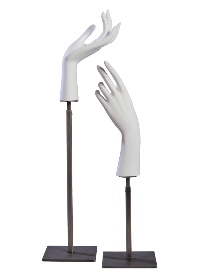 """THE ESSENTIAL ACCESSORY STAND COLLECTION    HAND STAND A & B   A. Hand Stand - Female A  Item# AD-H1014  B. Hand Stand - Female B  Item# AD-H1017     Available in three sizes   Short: Base 5"""" x 5"""" Adjusts 7"""" to 12""""  Medium: Base 5"""" x 5"""" Adjusts 14"""" to 24""""  Tall: Base 8"""" x 8"""" Adjusts 26"""" to 46"""""""