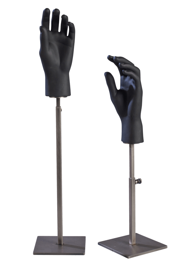 """HAND STAND MALE   A. Hand Stand - Male  Item# S0718-MHandL  Base 5"""" x 5"""" Adjusts 14"""" -24""""    B. Hand Stand - Male  Item# S0717-MHandL  Base 5"""" x 5"""" Adjusts 7"""" -12"""""""