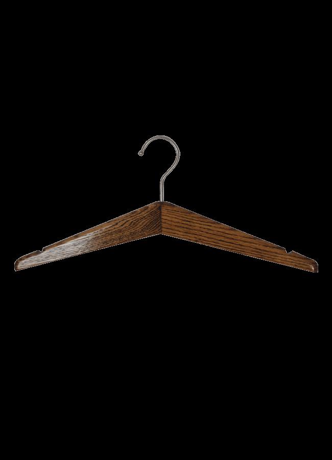 "HANGER DARK Wooden Hanger   Item# HG100  Size 17""  A. Dark walnut Satin nickel hook"