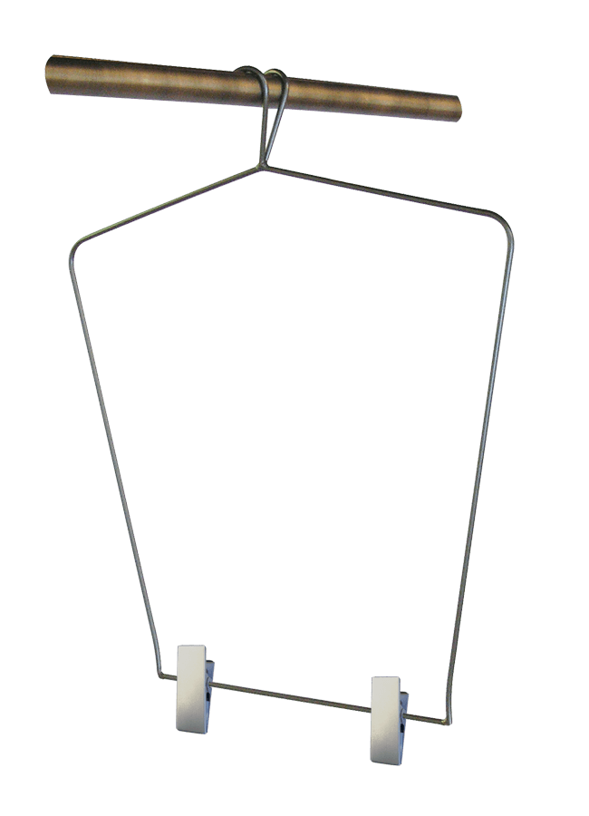 "HANGER HALF    Wardrobe Hanger - Half   w/Clips  Item# FC-63823  Size 16"" shoulder width 16"" h. w/ 3"" Hook"