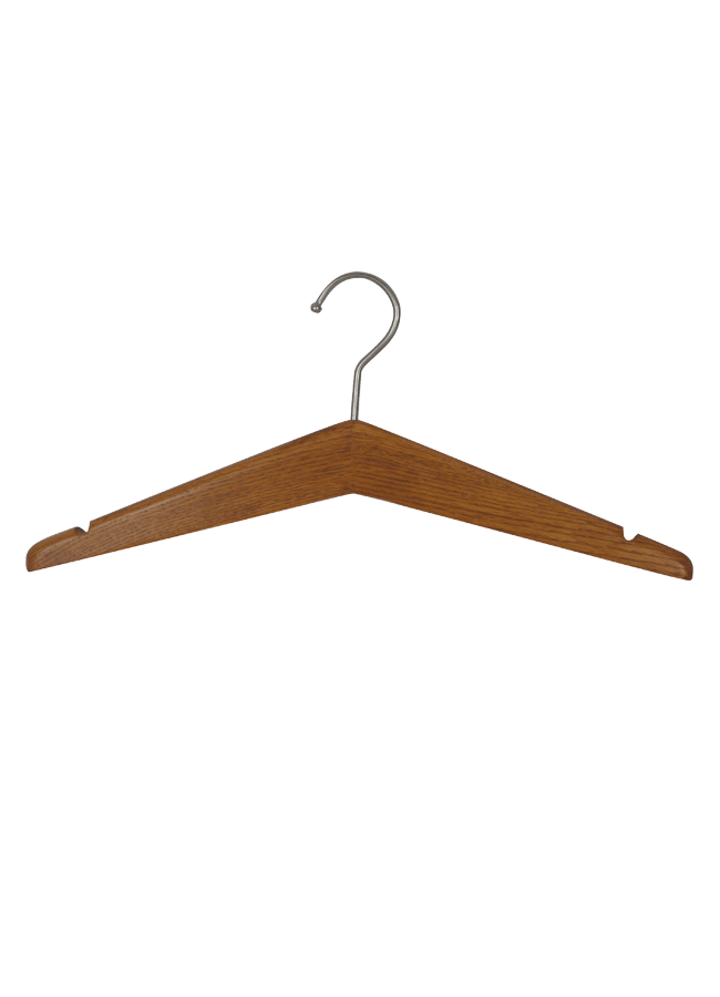 """HANGER HONEY Wooden Hanger   Item# HG100  Size 17""""  B. Honey walnut Satin nickel hook"""
