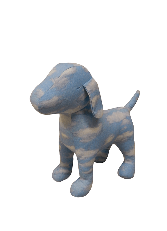 "FABRIC COVERED DOG   Item# FD-DOG3  Height 11 ¼""  Width 4 ½""  Length 13 ½"""