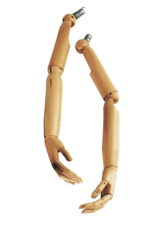 WOODEN ARTICULATED ARMS/HANDS – Female   ITEM#: AH3N-AC  Finish options available