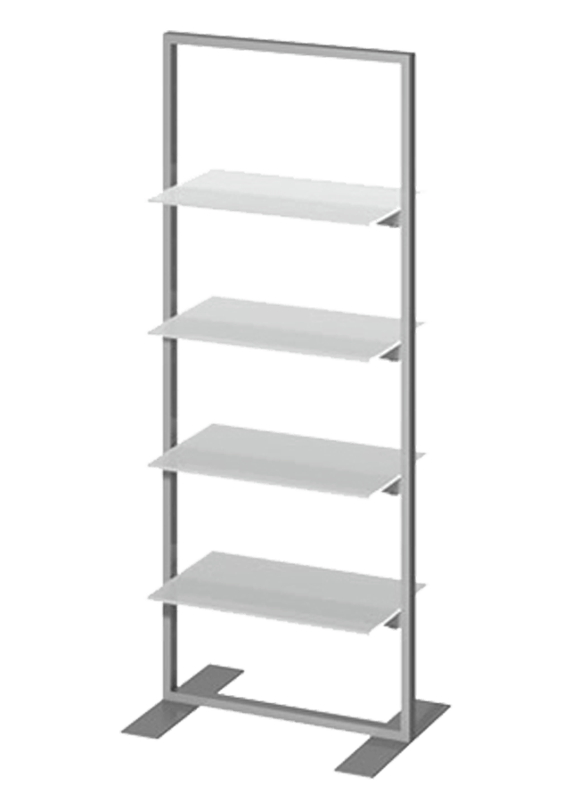 "Floor Collection – Slotted Frame Merchandiser   ITEM#: FS004A  22"" x 72"" Hang/Folded Slotted Shelf SF005P - 24"" x 32"" Plexi Shelf  Other finishes are available"