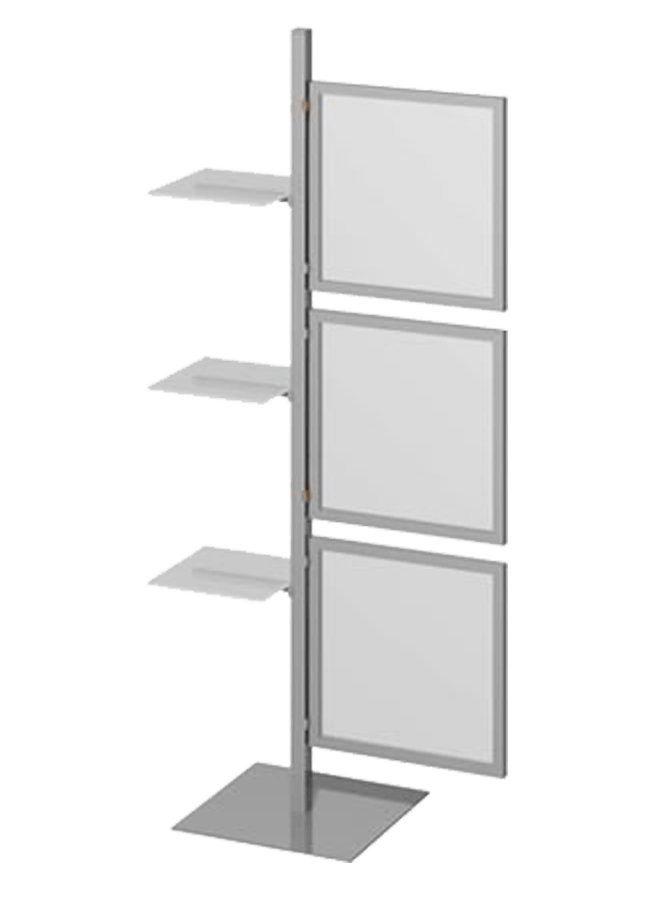 "Floor Collection – Slotted Freestanding Post   ITEM#: FS005A, SF006P, SH003A  FS005A - 72"" Aluminum, black, white, silver post, SF006P - Shelf 11.75"" x 11.75"" x .375"" forsted plexi hardware: Black, white, silver grpahic holder, SH003A - 18"" x 18"" Aluminum, black, white, silver  Other finishes are available"