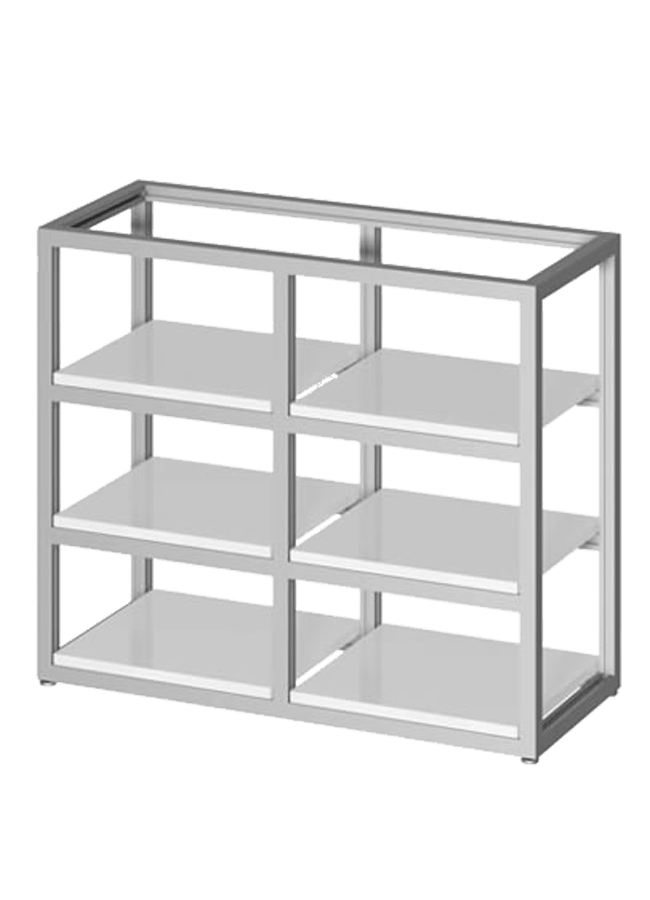 "Floor Collection – Floor Cage Large   ITEM#: FS006A, SF008P  FS006A - 54"" x 60"" x 15"" fold floor fixture cage shelf, SF008P - 15"" x 28"" shelf  Other finishes are available"