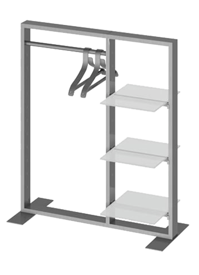 "Floor Collection – Slotted Tabletop Frame   ITEM#: TT002A, CB004A, SF006P  TT002A - 36"" x 42"" Ttop merchandiser slotted round crossbar, CB004A - 13"" crossbar slotted shelf, SF006P - 15"" x 20"" plexi shelf  Other finishes are available"