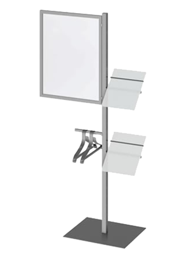 "Floor Collection – Slotted Freestanding Post   ITEM#: FS005A, SH002A  72"" Slotted post grpahic holder, SH002A - 22"" x 28""  Other finishes are available"