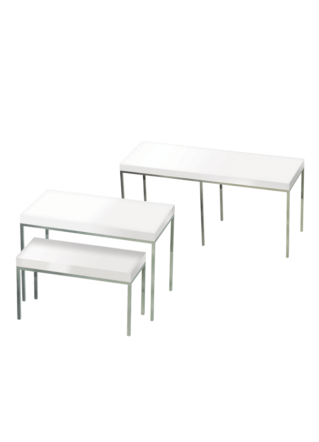 "MERCER TABLES    Item# MER008   Size 68 ¼"" l x 23 ¾"" w x 32 ¼"" h   Item# MER003   Size 46"" l x 24"" w x 32 ¼"" h   Item# MER004   Size 36"" l x 16"" w x 21 ¼"" h  Note: Available in a variety of colors"