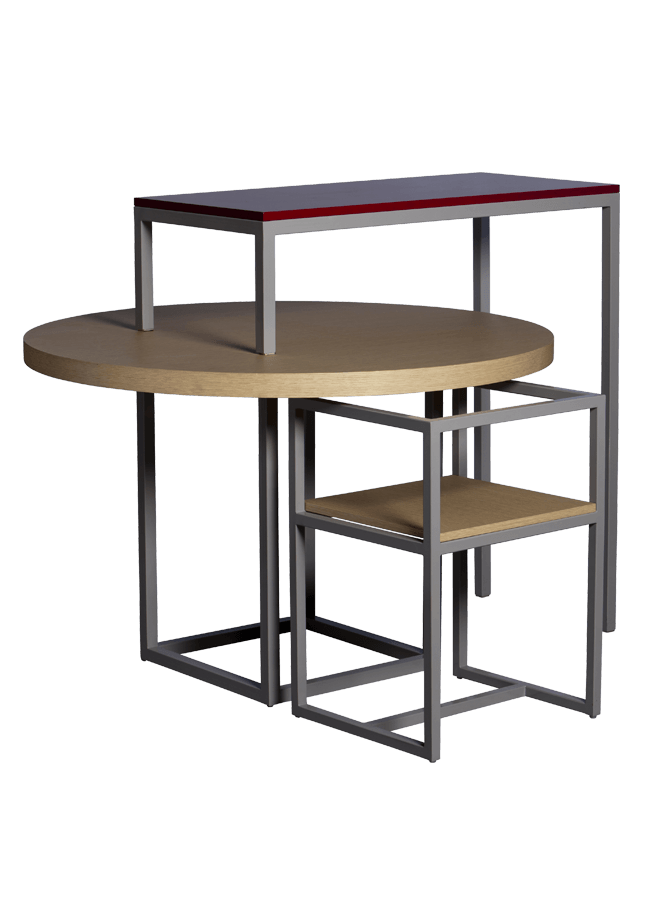 "Modulaire Collection – Tables & Chair   Round Table - 48"" dia top, 31"" h w/ 24"" sq base, Chair - 18"" x 18"" x 28""h, Pivot Table - 36""w x 14""d x 46""h  Other finishes are available"