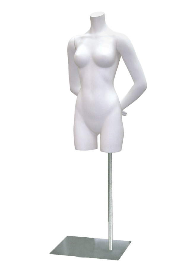 "BERNSTEIN B-LASTIC MANNEQUINS & FORMS - FEMALE   Item# FP7-34-D  Arms straight  height 34""  bust 33 ½""  waist 23 ½""  hip 35 ½""  Base: M062 16"" x 13"" Satin nickel"