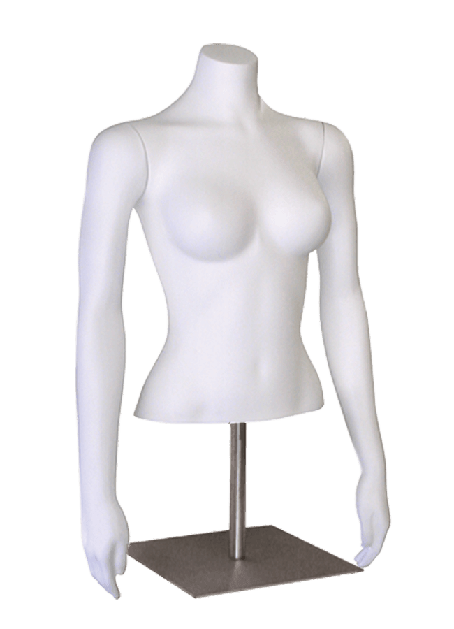 "Item# FP7-Blouse   Arms straight  height 21 ½"" (without arm)  bust 33 ¼""  waist 23 ½""  Base: M082 12"" x 12"" Satin nickel"