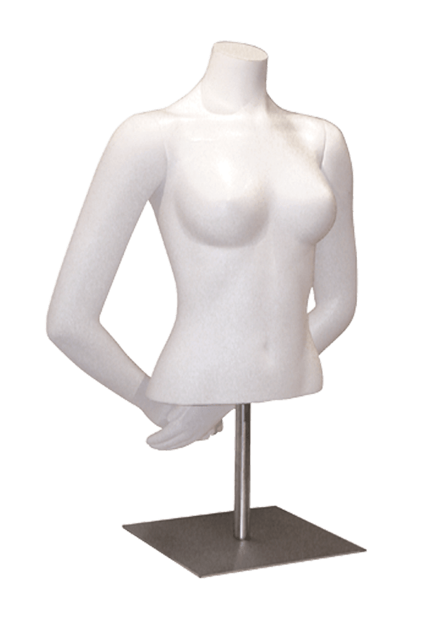 "Item# FP7-BlouseB   Arms behind  height 21 ½"" (without arm)  bust 33 ¼""  waist 23 ½"" Base: M082 12"" x 12"" Satin nickel"