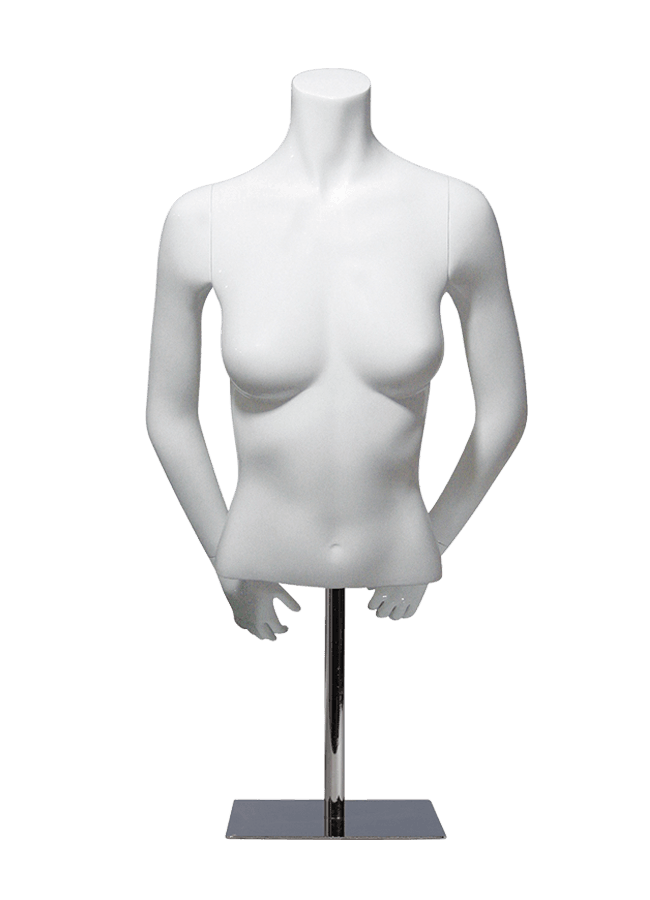 "MCMF-F1000 HALF     Measurements:    Height 24"" (form only)    • Bust 32""    • Waist 26""    Base:       10"" sq. Metal-HALF"