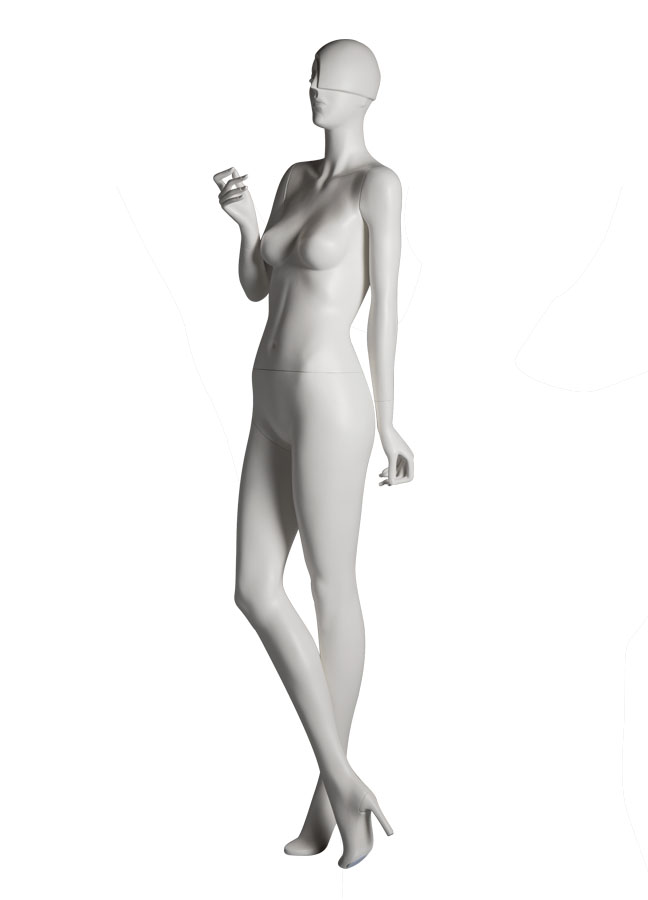 "SHADE POSE 5 L side   Measurements:  Height 74""  Bust 32-1/4""  Waist 24-7/8""  Hip 36-1/2""  Footprint 9-1/2""  Heel 4"""