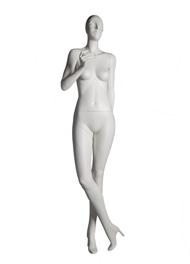 "SHADE POSE 5 front   Measurements:  Height 74""  Bust 32-1/4""  Waist 24-7/8""  Hip 36-1/2""  Footprint 9-1/2""  Heel 4"""