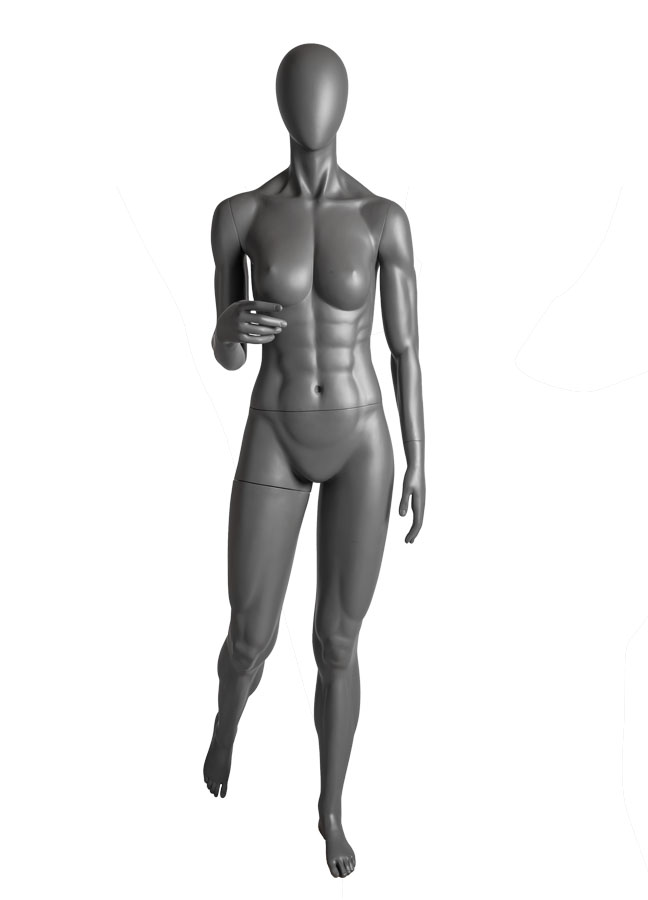 "SQUAD FEMALE POSE 3, Arm B  ITEM# SQ-F3B  Measurements:  Height 71-1/2""  Bust 36""  Waist 26-1/2""  Hip 37"""