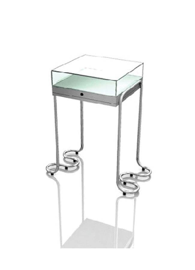 "RIBBON MC-CC11-E  Vitrine Display  Vitrine Base: 38"" x 19"" x 35"" h  Vitrine Glass Case: 24"" x 24"" x 7"" h"