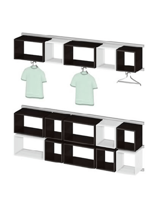 "WALL ITEMS 4  Wall Rail  WL301A 96"" x 3"" x 2"" Double Wall Rail  Rail Cube: CB001W 15"" x 15"" x 15"" 4 Sided Cube  Rail Cube: CB002W 15"" x 24"" x 15"" 4 Sided Cube  Rail Cube: CB201P 15"" x 15"" x 15"" 4 Sided Cube  Rail Cube:CB202P15"" x 24"" x 15"" 4 SidedCube"