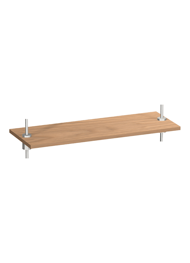 "WHS-06  Rectangular Wood Shelf 22"" x 8"" x 3/4""  Walnut  Polished Chrome"