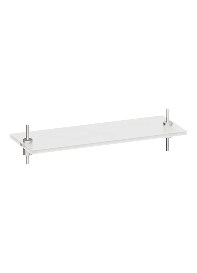 "WHS-07  Rectangular Plexi Shelf 22"" x 8"" x 1/2""  Frosted Plexi Polished Chrome"