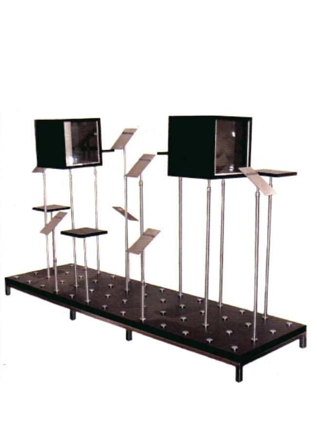 """Puck Platform  MWRB2484-4  Puck base 24"""" x 84"""" with 53 holes. WB12  Wood and plexi box on fitting with removable plexi box insert on 3059 ADJ-TS, ASR48 angles shoe riser on 917ADJ-TS and WFSR wood flat riser on 917 ADJ-TS."""