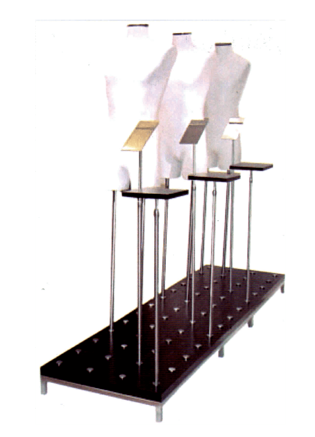 """Puck Platform  MWRB2484-5  Puck base 24"""" x 84"""" with 59 holes with Men's 3/4 form.  48"""" x 7/8 non-adjustable uprights plus ASR metal angles shoe riser and FSR-flat wood risers on 917 ADJ TS uprights."""